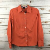 J. Crew Womens Button Front Shirt Small Slim Fit Solid Orange Long Sleeve 65137