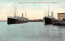 1908 Clyde Line Steamers Apache & Iroquois in Harbor Jacksonville FL post card