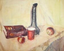 Vintage watercolor painting still life with pitcher, mug, apples and books