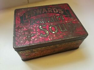 Vintage Advertising Tin Edwards Desiccated Soup Tin (Brown) c 1920 early