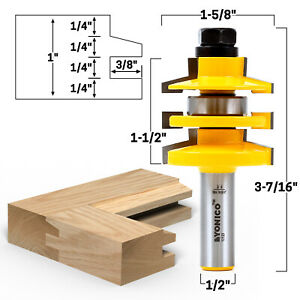 "Bevel Stacked Rail and Stile Router Bit - 1/2"" Shank - Yonico 12123"