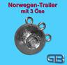 Norwegen-Trailer, 240g - 280g, Sea Trailer, Kugelblei mit 3 Öse, Rundkopf