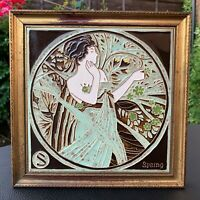 """Art Nouveau Style Hand Decorated Tile """"SPRING"""" Tubeline & Majolica,MAW & Co 1975"""