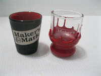 Makers Mark Shot Glasses set of 2 Red Wax Dipped and Black/Red, Whiskey