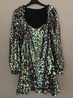BNWT ZARA MULTICOLOURED SEQUIN MINI DRESS WITH PUFF SLEEVES SIZE S