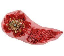 Red Gold Purple Lace Appliques / Sequin 3D Applique Trim for Stage Costume #54