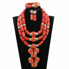 Original Traditional Coral Elongated Bridal Party African Nigerian Jewellery Set