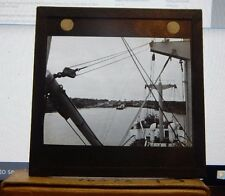 Antique Glass slide Merchant Ship Approaching locks Panama Canal 1930's