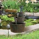 3 Tier Barrel & Pump Water Feature Cascade Outdoor Garden Patio Fountain