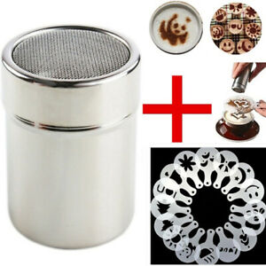 STEEL CHOCOLATE SHAKER DUSTER W/ 16 BARISTA STENCILS HOT DRINK COFFEE UK
