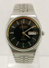 Vintage 1980s Citizen Eagle 7 Automatic 21 Jewel Black Face Gents Wrist Watch