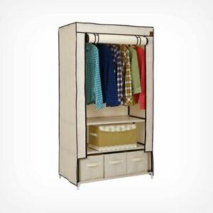Cheap Double Canvas Wardrobe With Drawers Portable Caravan Guesthouse Storage