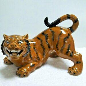 Tiger Statue Kutani Ware Japanese Antique Porcelain Okimono Japan Figure Doll