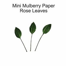 30 x Mini Mulberry Paper Leaves ROSE Embellishments for Card-making and Crafts