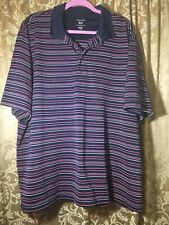 Mens Collared Dress Shirt, Size 2 XL, Navy Blue W/ White & Pink Stripes, HOT!!