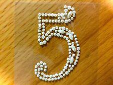 "2 x ""5"" Self Adhesive Stick on Pearl Numbers Diamante Gems Crystals Rhinestones"