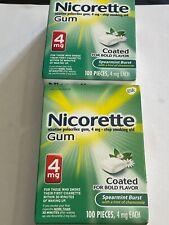 2 lot Nicorette Gum 4mg Spearmint Burst 200 Pieces NEWEST Fresh Exp 2/2024