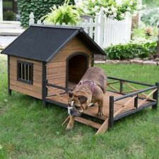 Large Outdoor Dog House Extra Insulated Pet Shelter Wood Weather Home Roof Porch