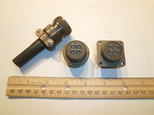 NEW - MS3106A 18-10S (SR) with Bushing and MS3102A 18-10P - 4 Pin Mating Pair