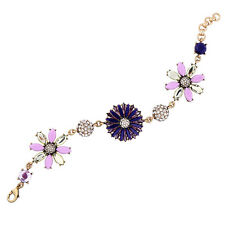 Crystal Rhinestone Navy Blue Daisy Purple Flowers Bronze Cuff Bracelet Chain