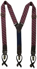 New Tommy Hilfiger Men's Classic Vintage Look Suspenders Red Stripe 21TL61X018