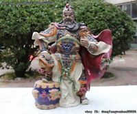 China WuCai Porcelain pottery Step on Drum Guan gong Guan Yu warrior Art Statue