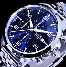 Lorus by Seiko Herren Armband Uhr Blau Silber Farben 10 Atm  Chronograph