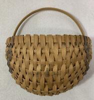 Vintage Woven Flat Back Wall Basket Hanging Handmade Rustic Handle