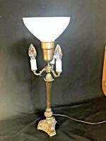 Vintage 4 Light Candelabra Table Lamp with Milk Glass Uplighter