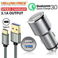 Samsung Galaxy S10 S10+ S10e S8 S9 S9+ Braided Fast 3A USB-C Cord + Car Charger