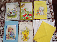 VINTAGE SET OF 5 BRICK MILL + CHILDREN & ANIMALS GREETING CARDS & ENVELOPES