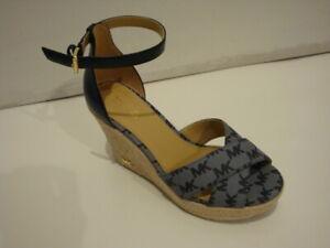 NEW Michael Kors MK Logo Eleanora Wedge Buckle Up Espadrille Blue Sandals 6.5