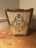 """Antique/Vtg 11""""  Italian Florentine Gold Ivory Gilt Wood Waste Basket Trash Can"""