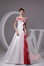 Rot Schulterfrei Hochzeitskleid Braut KLEIDER GRÖßE 6,8,10,12,14,16 WDH1-433