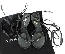 Chanel Zehensandale 36 schwarz Leder Schnür Sandale Gladiatoren sandals wie neu