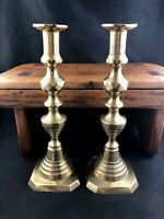 """🟢 Pair Antique English Brass 19th Century Push Up Beehive 10 3/4"""" Candlestick"""