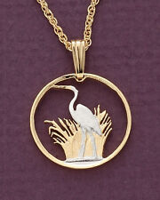 """Blue Heron Pendant & Necklace Malawi Coin 3/4"""" diameter  Hand Made   ( # 231 )"""
