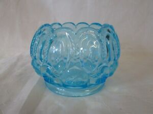 Moon and Stars Pattern Glass ELECTRIC BLUE ROSE BOWL Fenton LG WRIGHT