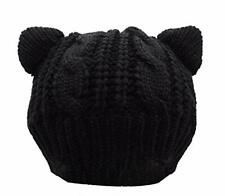 Warm & Adorable Thick Cat Ears Crochet Braided Knit Caps / Beanie for Women