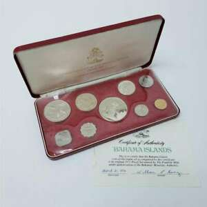 1972 Bahama Islands coin-of-the-realm Bahama Silver Proof 9 Coin Set SHF72BHPS27