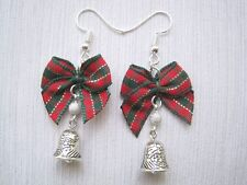 RED GREEN TARTAN BOW 3D CHRISTMAS BELL Drop EARRINGS Silver Plated Xmas Gift Bag