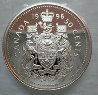 1996 CANADA 50 CENTS PROOF SILVER HALF DOLLAR COIN