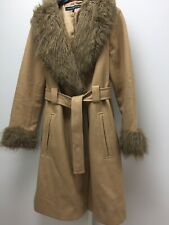 French Connection Camel Coat Fur Collar And Cashmere Blend Size 10