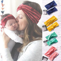New 2Pcs/Set Mom & Kids Turban Baby Bow Matching Headband Elastic Knot Hair Band