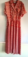 Vintage 1980s Kanga Collection Maxi Dress approx 12/14 Pleated Dale Tryon belt
