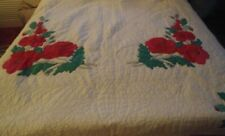 NICE NICE HANDMADE  APP 70 BY 84 INCHES WHITE @ RED POPPIES APPLIQUE QUILT