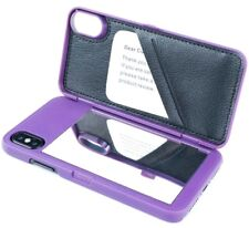 "For iPhone XS Max 6.5"" - Purple Hidden Mirror Wallet Case w/ Stand + Card Holder"