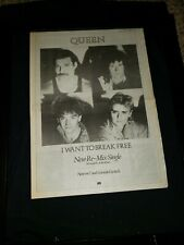 Queen I Want To Break Free Rare Original Uk Promo Poster Ad Framed!