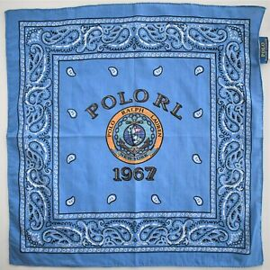 New POLO RALPH LAUREN Blue NAUTICAL & PAISLEY Print COTTON BANDANA Handkerchief