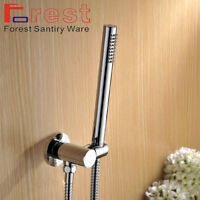Ownace Square Solid Brass Chrome Hand Held Shower Head With Wall Connector and Hose Set